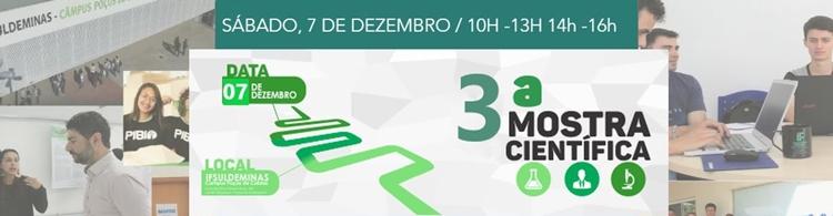 3ª Mostra Científica do Campus Poços acontece no dia 07/12. Confira o cronograma de atividades.